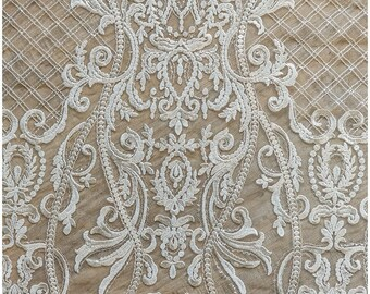 Ornate Sequin lace fabric, wedding lace fabric, bridal lace, Couture Lace, Alencon Lace fabric, wedding dress lace, (L17-050)