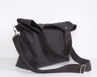 Messenger Bag, Gray, red lining...STREET... NEW , Gray canvas with Red lining ,adjustable strap