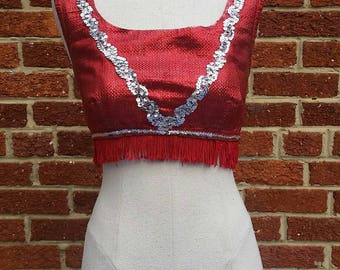 Vintage Red Lame Sequin Top // Majorette // Crop Top // Cheerleader // Festival Fringe