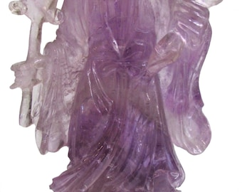 Chinese Carved Amethyst statue