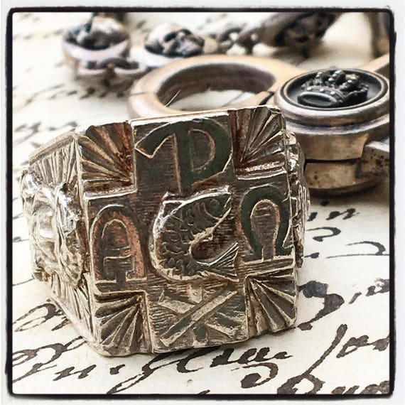 Etherial Jewelry - Rock Chic Talisman Luxury Biker Custom Handmade Artisan Pure Sterling Silver .925  Christian Chi Ro Designer Ring