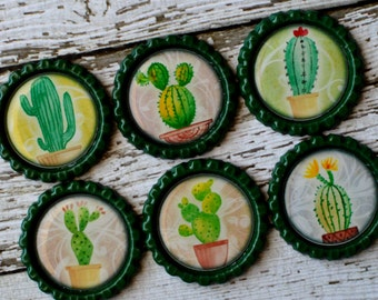 Cactus Bottlecap Magnets- Cute Potted Cactus Decor- Cacti Magnets- Cactus Gift- Cactus Kitchen- Southwest- Saguaro, Prickly Pear, Barrel
