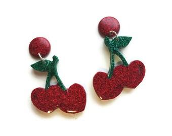 Cherry Earrings, Confetti Lucite Cherry, Mid Century Modern, Resin Earrings, Fakelite Earrings, Fruit Earrings, Novelty Jewelry, Rockabilly