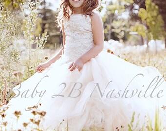 Flower Girl Dress Cream Dress Sequin Dress Lace Dress Ivory Lace Dress Tulle Dress Party Dress Birthday Dress Toddler Tutu Dress Girls Dress