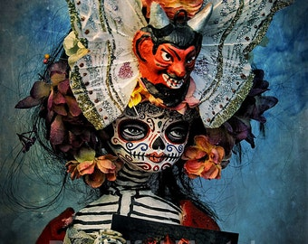 Beautiful Mortal Dia De Los Muertos Tattooed Doll Holding Portrait Canon PRINT 426 by Michael Brown