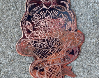 """Vintage Sailor Jerry """"Mother"""" Flower Basket Tattoo Necklace  - Hand Engraved & Heat Patinaed, Classic Tatto Flash Inspired: Inkd53"""
