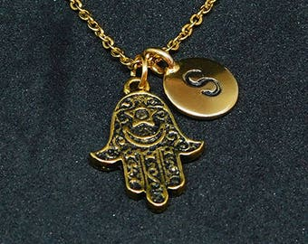 Golden Hamsa hand with Initial necklace, initial charm, hamsa pendant, hamsa charm, antique gold