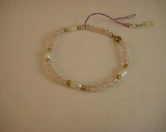 Rose Quartz  Bead Bracelet with Freshwater Pearls and 14k Gold Beads