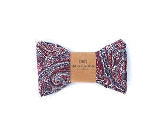 Maroon & Navy Paisley Bow Tie