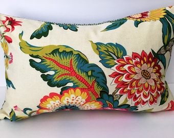 Turquoise , orange, green floral decorator pillow cover, rectangle 17x11 inches