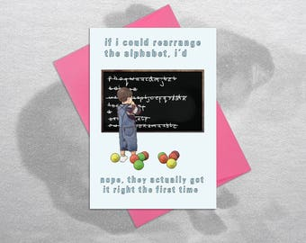 Alphabet – Funny Valentine, Valentine's Day Card, Funny Valentine's Day Card, Valentine's Boyfriend, Valentine's Girlfriend, Valentine Card