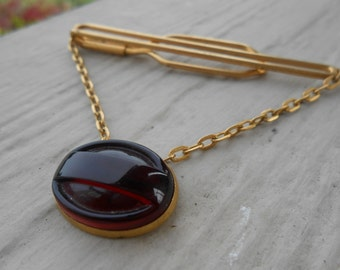 Vintage Red Stone Tie Clip. 1960s Gold Toned. Gift For Groomsmen, Groom, Dad, Husband.