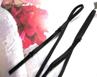 "12 pieces 1/4"" wide 16 "" long Black Satin elastic stretch adjustable bra straps (6 pairs) ST"