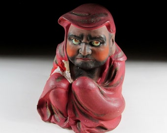 Old Kiyomizu-ware Daruma Okimono, Fine Arts Ceramics, Koedo