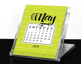 2018 Postcard Desk Calendar with Convertible Case Stand - (12) Twelve Month