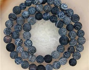 5 FIRE 8 MM BLACK DRAGON VEINS AGATE BEADS.