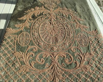SALE TREASURY ITEM Antique Velvet Drapes With All Metallic Stumpwork Bullion Embroidery From a French Chateau