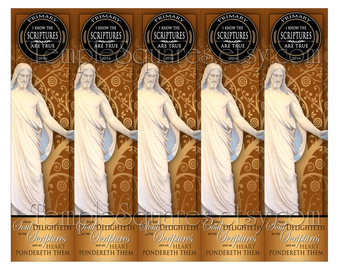 """PRINTABLES Bookmarks Primary 2016 Theme Tree of Life Style """"I Know The Scriptures Are True"""" 2 sizes Gold and Black"""