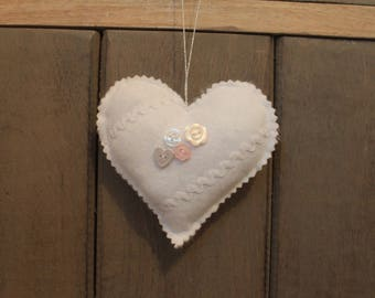 Heart in white felt hanging So shabby!