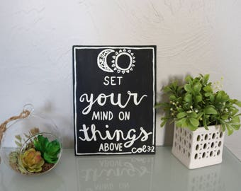 Set Your Mind on Things Above Col. 3:2 Moon & Sun Christian Bible Verse 6x8 Canvas