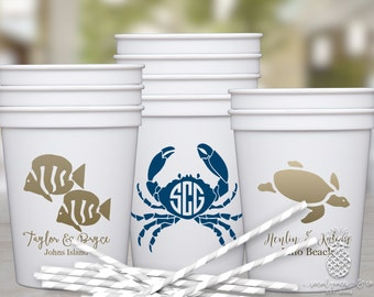 Personalized Cups | Monogram Cups | Custom Party Cups | Personalized Plastic Cups | Beach Wedding Cups | Crab, Fish or Sea Turtle Monogram