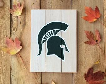 Michigan State Spartan Wooden Sign