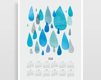 2018 Calendar, Large Calendar 2018, Office Decor, 2018 Wall Calendar, Christmas Gift, Gift for Women, Teacher Gift, Gift for Boyfriend
