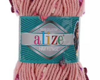 Alize maxi Flower yarn, wool yarn, super bulky yarn, Hand knitting yarn, Winter yarn , bulky yarn