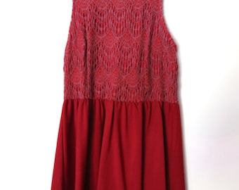 Vintage 1990s Burgundy Red Crochet Floral Swing Empire Dress in Ponte Knit with High Neck and Exposed Zipper Detailing
