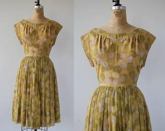 1950s vintage dress / 50s golden dots dress / 50s day dress / 50s cotton dress / 50s medium dress / 50s circle print dress