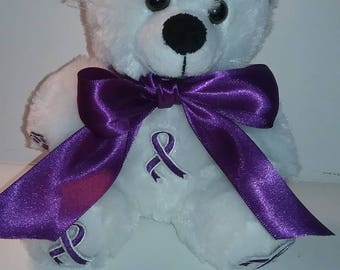 Purple Ribbon Awareness 6 Inch Teddy Bear