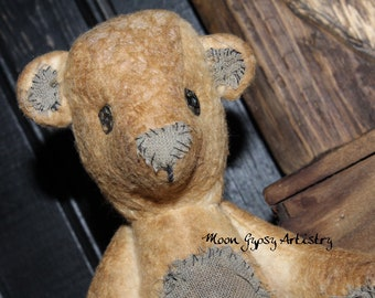 "Olde N Early Nooks ~N~ Crannies ~ Handmade Primitive ""Greysen"" Teddy Bear ~ Grey Patches <3"