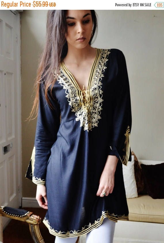 KAFTAN 20% SALE/ Autumn Tunic Black with Gold Embroidery Traditional Marrakech Tunic Dress - Casual wear, loungewear, resortwear