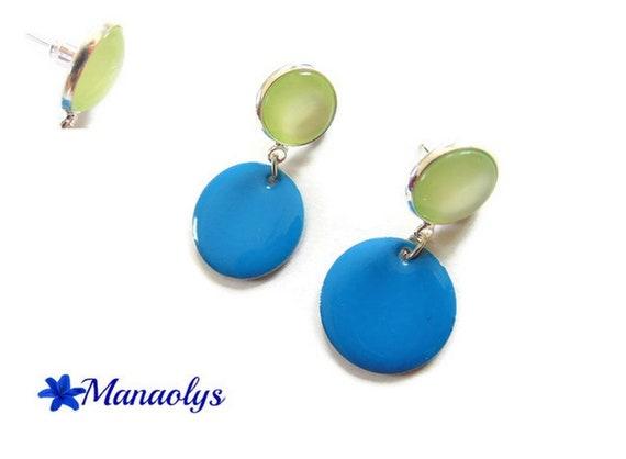 Stud Earrings, green pendants blue enamel and resin cabochons