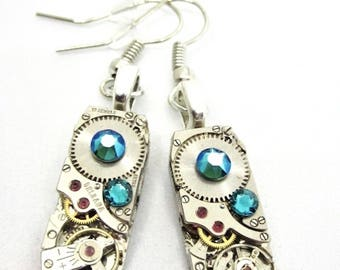 Gleam  - Steampunk Earrings - Repurposed art