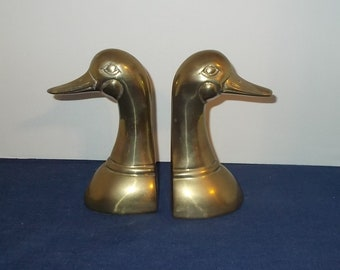 Vintage 1980's Solid Brass Duck Head Bookends-Made in Korea-FREE SHIPPING
