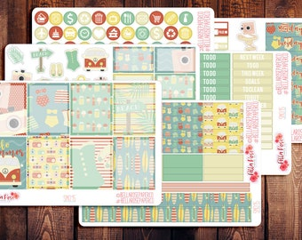 Retro Summer Planner Sticker Kit, for use in Erin Condren Life Planners, Happy Planner Sticker Kit, Summer Planner Stickers SM015
