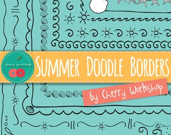 Summer Doodle Borders with cute starfish, sun,ice cream, waves and more summer details - COMMERCIAL USE - Hand-drawn Doodle overlay