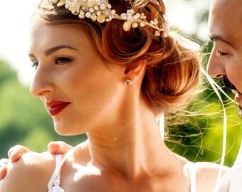 Bridal hairpiece GRETA - fresh water pearls hair circlet floral crown SALE