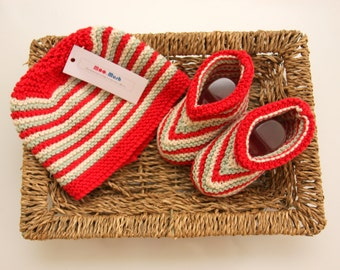Hand Knitted Baby Garter Stitch Striped Organic Cotton Hat and Bootee Set - Ready to Ship!