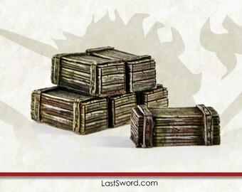Wargames (6) wooden crates.