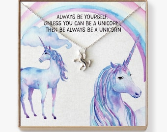 Unicorn Necklace: Unicorn Birthday, Unicorn Party Favor, Unicorn Gift, Unicorn Jewelry, Always Be Yourself Unless You Can Be A Unicorn