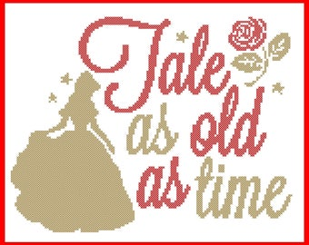 BOGO FREE! Beauty and the Beast  Tale as old as time Belle  Beast  Prince  cross stitch pdf Pattern - pdf pattern instant download  # 281