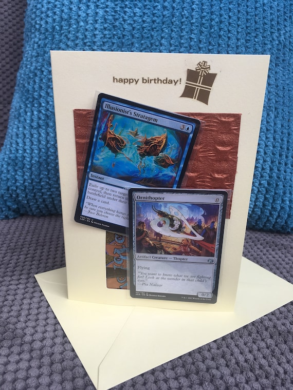 Handmade Ornithopter Birthday Card Magic The Gathering