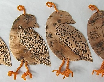 Holiday Ornaments. Christmas Tree Ornaments, Finch, Quail Bird, Copper Bird Ornaments. BUY A BIRD in Remembrance of your loved one.