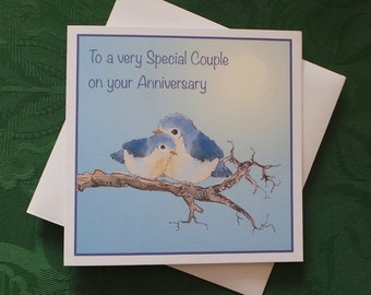 Bird Cute Anniversary Greeting Card / Wildlife Greeting Card / Love Romantic Card / Artistic Watercolour Prints Greeting Cards / by Clare