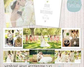 Wedding Album Accordion Mini - 3x3 inch Photoshop template - FN003 - INSTANT DOWNLOAD