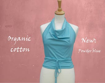 wrap top organic cotton, halter top biological cotton, sustainable clothing, fair trade clothing