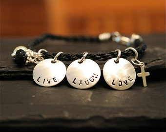 Modern Charm Bracelet - Hand Stamped Twisted Cord with Onyx and Pearl - Sterling Silver Charms