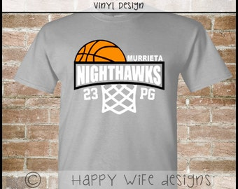 Basketball Dad Shirt -  Half Basketball and Hoop with Team Name - Players Number and Position Design